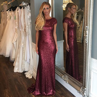 Don's Bridal Sequin Bridesmaid Dresses Long Formal Couture Mermaid Wedding Party Dress Backless Floor Length Cap Sleeve D35