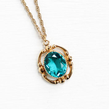 Vintage 12k Yellow Gold Filled Teal Blue Glass Stone Pendant Necklace - 1940s Vibrant Oval Stone Charm Hallmarked L.S.P. Co Jewelry