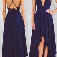Blue High Low V Neck Spaghetti Strap Simple Prom Dress