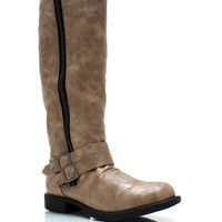 Double-Buckle-Riding-Boots BROWN TAUPE - GoJane.com
