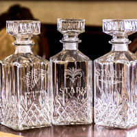 Set of 4 Personalized Scotch Whiskey Decanter Set. Groomsmen Gift For Him. Engraved Glass Whiskey Decanter and Glasses Father Dad's Gift
