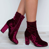 Arlo Crushed Velvet Boots - Ruby