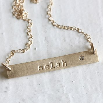 Personalized 14k Yellow Gold Bar Necklace with Birthstone