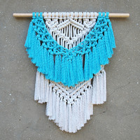 Blue and white wall hanging Modern macrame wall hanging Nursery wall decor Blue woven wall hanging