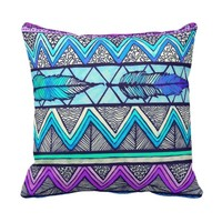 Two Feathers (color version 3) Throw Pillow