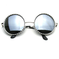 Designer Inspired Fashion Round Metal Vintage Circle Sunglasses