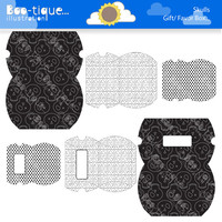 Skull Printable Pillow Boxes for Instant Download. Pdf file. Black and White Polka Dots