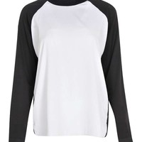 India Woven Contrast Long Sleeve Top