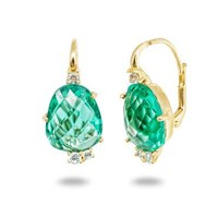 Caribbean Green CZ French Clasp Gold Earrings  