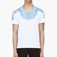 Alexander Mcqueen White And Blue Lace Print T-shirt