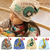 New Spring Baby Kid Infant Sanded Cotton Headset Print Cap Children Beanie Headphone Hats Kid's Accessories