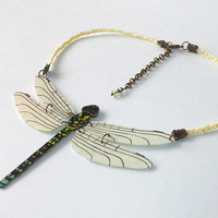Crewneck necklace recycled CD : Articulated dragonfly, white, black, green, blue and yellow - by Savousepate