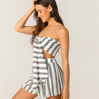 Boho Black and White Knotted Front Striped Strapless Tube Crop Top and Shorts Set Women Beach Sexy Two Piece Set