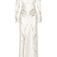 Alexander McQueen - Embroidered satin-twill gown