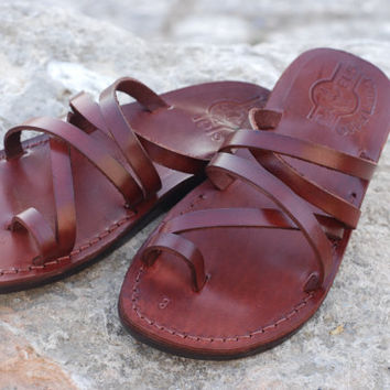 On sale Best flat summer sandal women shoe brown leather and classic style greece sandal