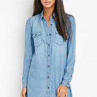 Flap-Pocket Chambray Shirt Dress