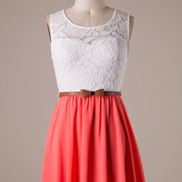 Coral and White Dress with Bow Belt