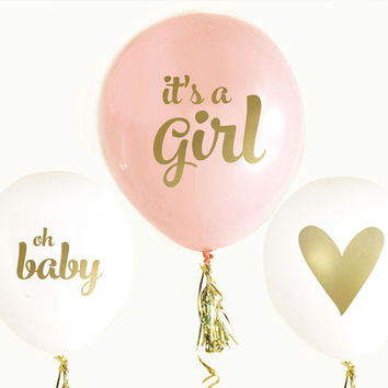 Pink And Gold Girl Baby Shower Balloons (Set of 3)