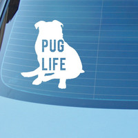 Pug Life funny car or laptop vinyl decal, pug decal or sticker