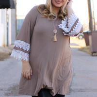 Devoted To Lace Tunic With Accented Sleeves ~ Mocha ~ Sizes 12-18