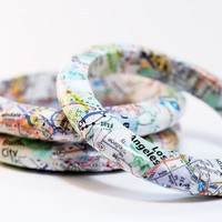 Recycled California Map Eco-Friendly Bangle Bracelet - New Directions