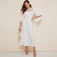 3D Applique Mesh Yoke Exaggerate Cuff Hijab Dress Elegant Women White Solid Belted High Waist Flounce Sleeve Dresses