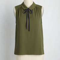 Feedback At It Tank Top in Olive | Mod Retro Vintage Short Sleeve Shirts | ModCloth.com
