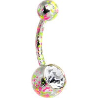 Crystalline Gem Pink Yellow Green Neon Speckles Belly Ring   Body Candy Body Jewelry