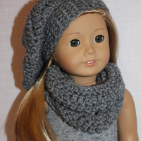 grey beret style crochet slouch hat with infinity scarf,  18 inch doll clothes American girl Maplelea