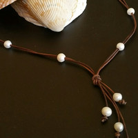 Seasidpearls30a: Quality Guaranteed 10 Freshwater Pearl Lariat Necklace on AA Leather