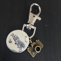 Photography metalstamping handmade keychain or zipper charm