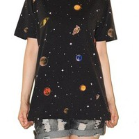 Galaxy Universe Astronaut Space Star Cluster Black Rock T-Shirt Size L