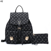 LV 2019 new classic logo canvas men and women large capacity backpack #2