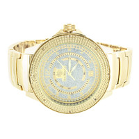 Real Diamond Watch Mens Ice Mania New Steel Gold Finish