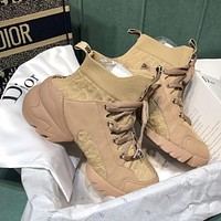 DIOR hot sale new color matching stretch fly knit socks shoes Martin boots