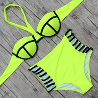 Hot High Waist Bikini 2017 Push Up Swimsuit Sexy Swimwear Women Solid Bathing Suit Swim Bikini Set Biquini Bandage Bikinis