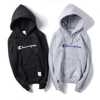 Champion Fashion Drawstring Embroidery Long Sleeve Top Sweater Pullover Hoodie DCCK