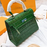 Hermes New fashion leather shoulder bag crossbody bag handbag Green