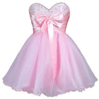 Faironly Stock Mini Short Quinceanera Homecoming Dress (XS, Pink)