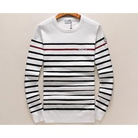 MONCLER 2018 new round neck pullover striped knit long sleeve sweater F-A00FS-GJ White