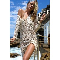 Boho Chic Elegant White Beach Crochet Knitted Cover Up Dress