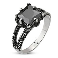 Spikes Stainless Steel Onyx Dragon Claw Biker Ring