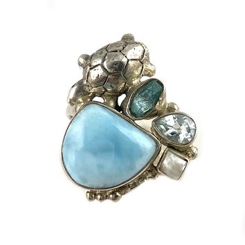 Larimar, Apatite Rough, Pearl & Blue Topaz Sterling Silver Turtle Ring