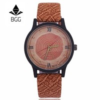 New Wood Women Watches Retro 2016 Casual BGG Brand Vintage Leather Quartz Clock Woman Fashion Simple Face Wooden dress Watch