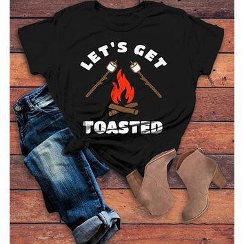 Women's Funny Bonfire T Shirt Let's Get Toasted Marshmallow Graphic Tee Camping Shirts