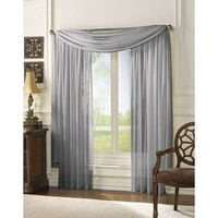 HLC.ME Voile Sheer Curtain Silver 56 x 216 in. Scarf