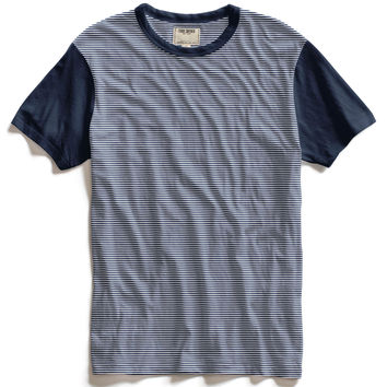 Navy Crew T-Shirt with Contrast Sleeves