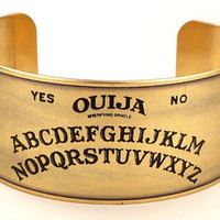 Ouija Board Brass Cuff, Halloween Jewelry, Ouija Board Jewelry, Spirit Board Cuff
