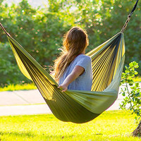 Hero Hammocks Parachute Hammock for Indoor and Outdoor Use - Lightweight, Single, Portable Bed for Travel, Camping, Backpacking, Beach and Patio by Hero Hammocks. (Forest Green/ Army Green)
