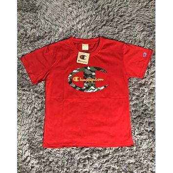 Champion Tide brand camouflage big C printing sports casual round neck short-sleeved T-shirt Red